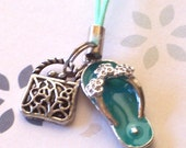 Antique Silver Purse and Flip Flop Cell Phone Charm