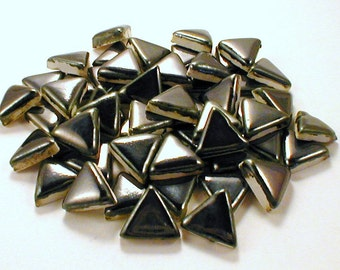 "3/4"" Mosaic tiles Triangles - silver ceramic mosaic tiles"