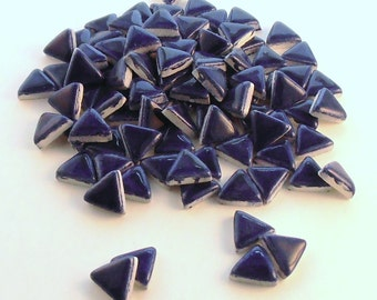 "3/4"" blue triangles, Ceramic mosaic tile - Handmade"