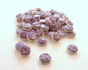 "1/2"" Ceramic mosaic tile,  Purple circles - mosaic supplies"