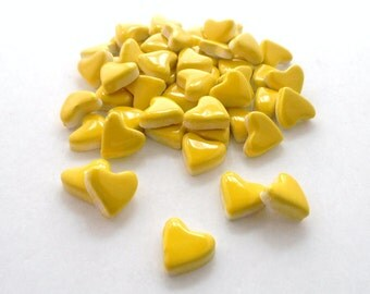 Mosaic Tiles-Valentine day- 40  small yellow hearts - mosaic tiles - Handmade ceramics