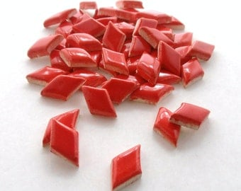 Mosaic Tiles-(75) Red diamond tiles, Handmade ceramic mosaic tiles