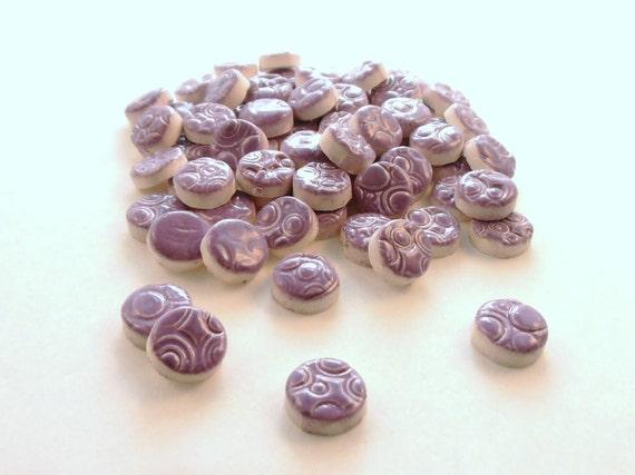 "1/2"" Ceramic mosaic tile,  Purple circles - mosaic supplies"