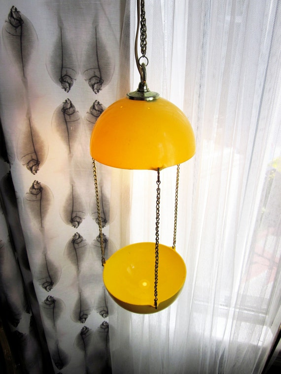 Mid Century Hanging Yellow Half Orbs Planter and Lamp