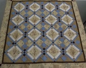 ON SALE! Quilted Throw in Ecru and Dusty Blue