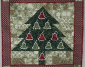 22 inch square Christmas Quilted Mini Wallhanging in Greens and Reds