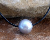 Silver Pearl and Leather Necklace