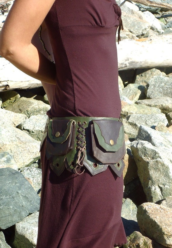 Leather Hip Belt Bag with five pockets in Dark Brown and Green