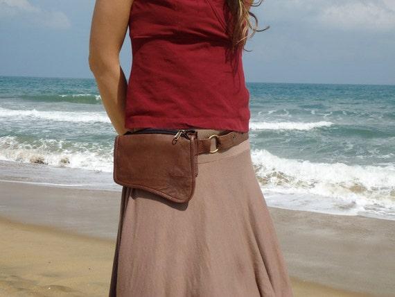 Belt Bag Leather Pocket Wallet belt bag in light brown