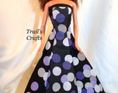 Handmade Barbie Clothes Doll Dress Style 3 Black & Purple Circles