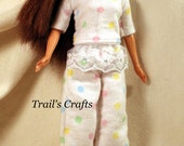 Handmade Barbie Clothes Doll Pajamas Style 9 White With Dots Sleepwear