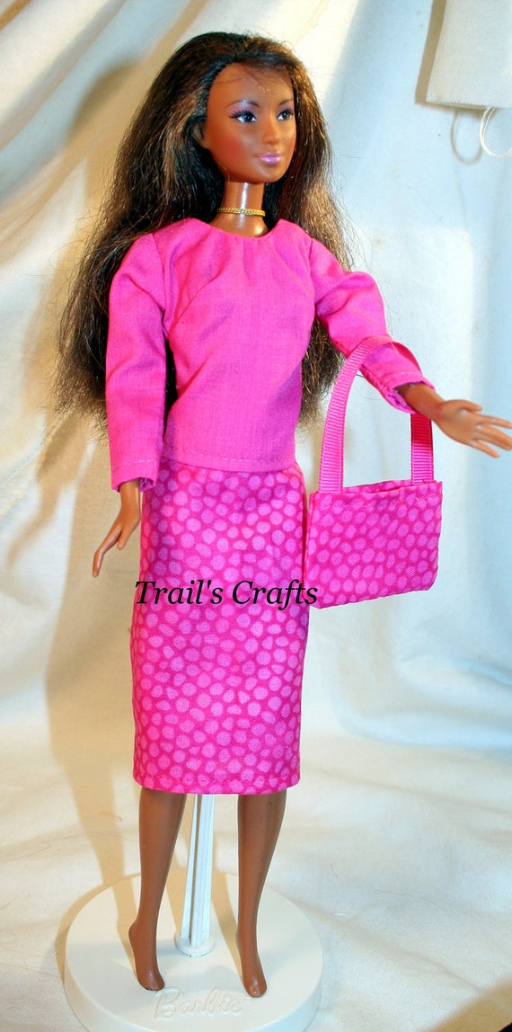 Handmade Barbie Clothes Doll Outfit Style 39 Bright Pink Animal Print