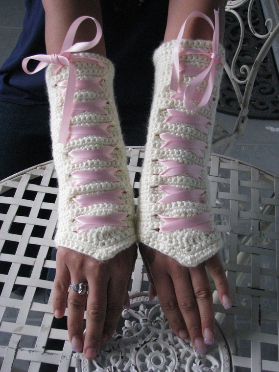 Reserved for Shirley from theSheepandI--Free Shipping-Corset Wrist Warmers in Off White