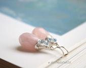 Pink and blue -- rose quartz gemstones earrings, 925 sterling silver