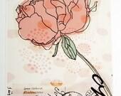 peony print art giclee pink coral flower wedding gift scandinavian nordic