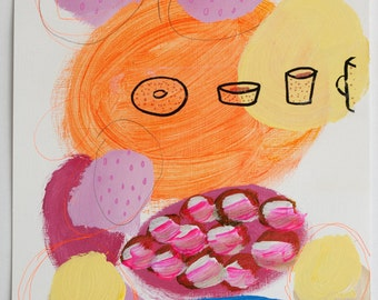 painting coffee cups orange yellow pink original on paper acrylic fine art mixed media