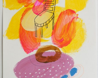 painting chair orange yellow pink original on paper acrylic fine art mixed media
