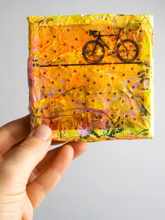 SALE bicycle painting original orange mixed media textured gallery decor wall black