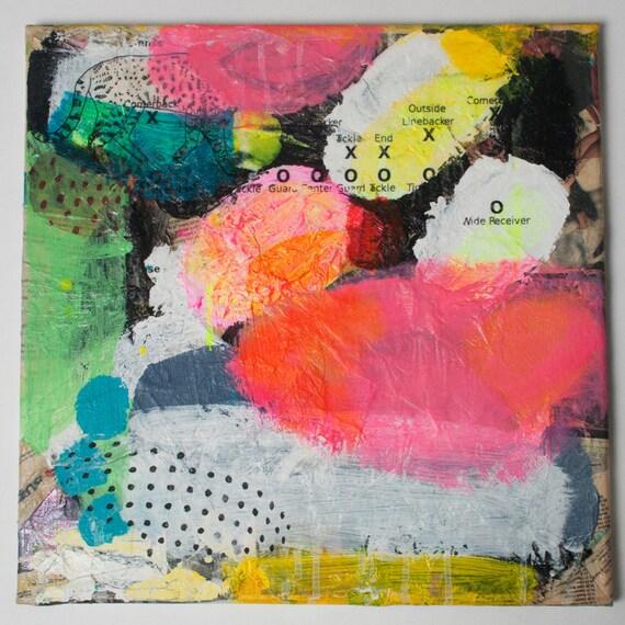 original painting pink white abstract modern decor black mixed media