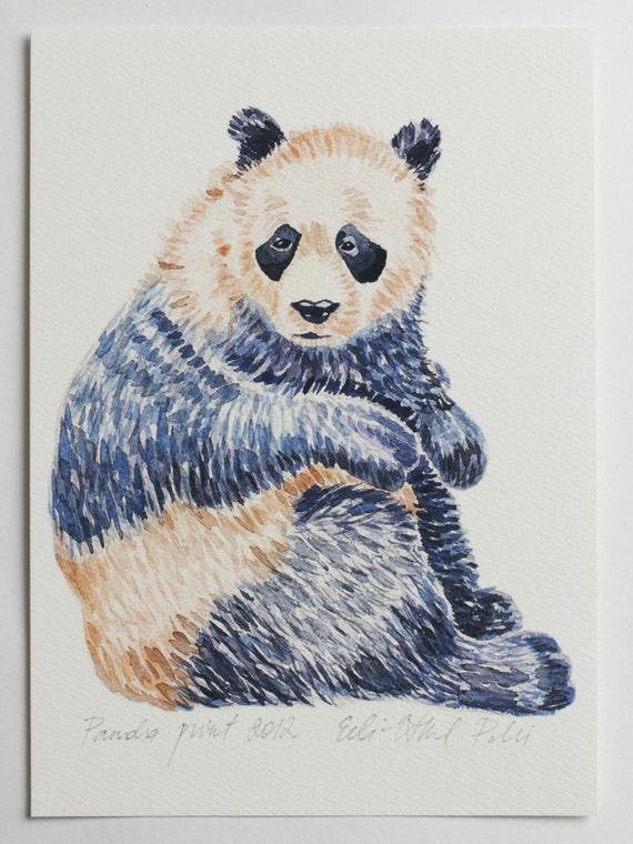 panda art print illustration bear drawing blue white home decor scandinavian protected animal