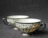 The two black cups. Pair of vintage porcelain teacups.