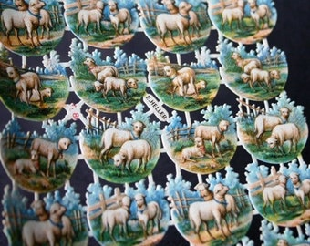 Somewhere, Spring is in the air... Antique sheep victorian paper ephemera.