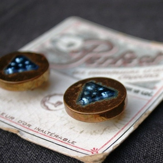Precious vintage button sample card. Golden and night blue set.