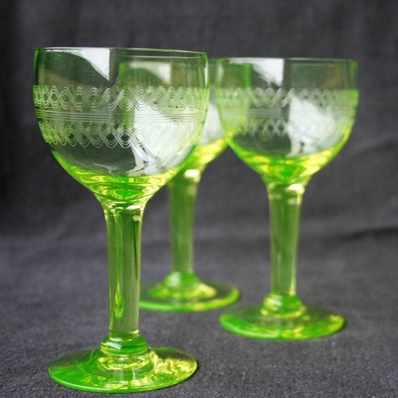 Beautiful collection of 3 delicate bright green uranium glasses