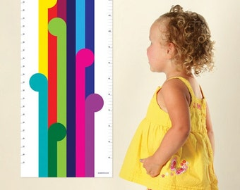 Modern rainbow Growth Chart for the stylish kids room. Bright & fun nursery decor for kids rooms. Contemporary height charts by Erupt Prints