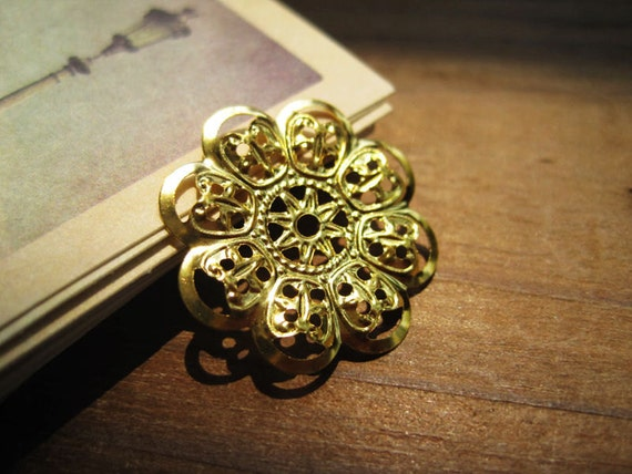 FG007- Filigree flower, focal, gold plated, 22mm,12PCS