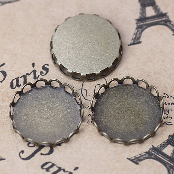60PCS 18mm Brass Antique Bronzed Round Lace Frame Cabochon Mountings Wholesale