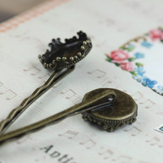 20PCS Brass Antique Bronzed/ Silver Plated Hairpin with 15mm Round Crown Edge Bezel Cup Cabochon Mountings- Z5068