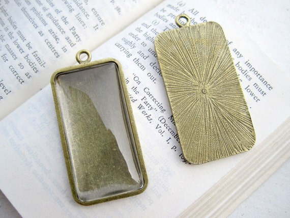 Pendant Trays- 10PCS Antique Bronzed 38x19mm Rectangle Bezel Cup Cabochon/ Cameo Pendant Mountings- DT057
