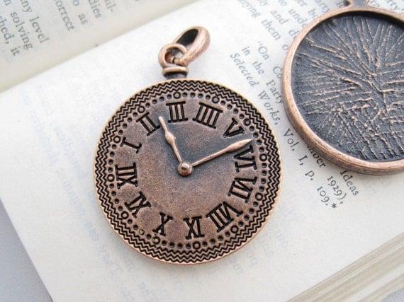 6PCS Vintage Antique Copper Tone Clock Charm Pendant with Loop