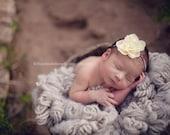 Soft Yellow Flower Headband.  Last One, newborn size