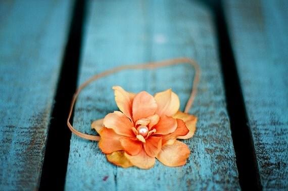 Skinny elastic orange flower headband for newborn baby or little girl, great photo prop