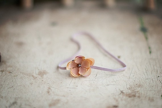 Mini Yellow - Blush Flower on a skinny elastic headband