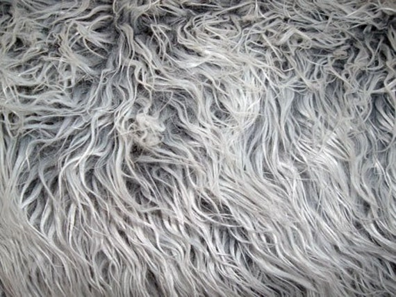 Grey Tipped Shag Fur Blanket Rug Great Photography Prop