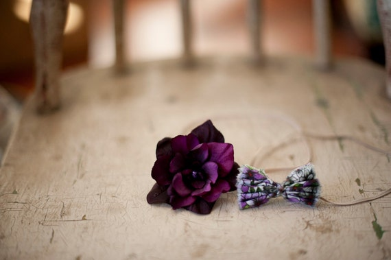 Purple Twin Set Flower and Bow Headbands