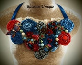 SALE -fabric, rolled flowers statement necklace - SALE