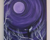 Vortex Angel - Original Large Abstract Fine Art Tree Moonscape Fairy Violet Purple Fantasy 24x36 By Elizabeth Pfleeger