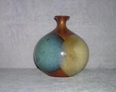 "Vintage Pottery Craft, blue, brown, beige, onion shaped ""weed vase"""