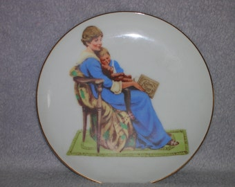 Mother and child small painted collectible plate