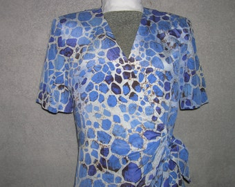 Vintage gray and blue print 100% silk wrap dress