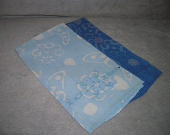 Set of two vintage, linen, hand towels in shades of blue