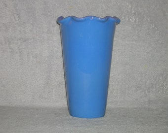 Vintage, sky blue, tall, pottery vase
