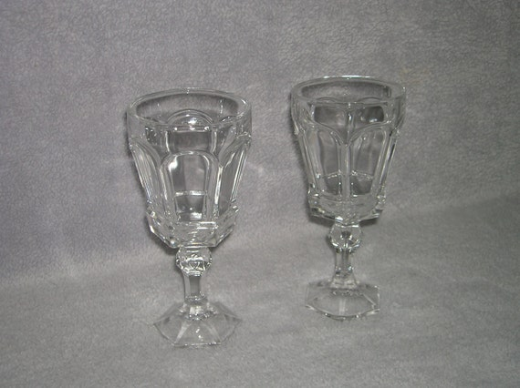Set of two matched heavy wine glasses