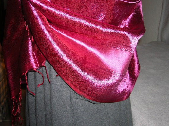 Vintage, silk, burgundy, fringed, long scarf