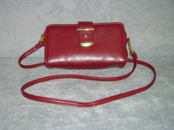 Deep red, small, leather shoulder purse or wallet/clutch by Etienne Aigner