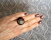 Button Ring - Copper Metal Base with Tortoise Shell and Gold Shield Vintage Button